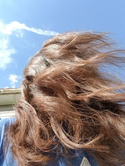 Hair Fluffy Flowing Girl Woman Water Sky Close-up Autumn Mood