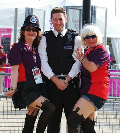 Hanging Out Enjoying Life Olympics2012 Policeman Policemans Helmet Friends Cheeky Tights Tights Tights Gamesmaker Postcode Postcards