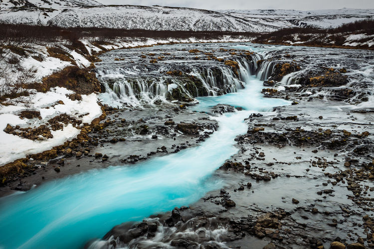 Secret Bruarfoss waterfall in winter Iceland Iceland Beauty In Nature Blurred Motion Bruarfoss Cold Temperature Day Environment Flowing Flowing Water Long Exposure Motion Nature No People Outdoors Power In Nature Rock Scenics - Nature Snow Water Waterfall Winter