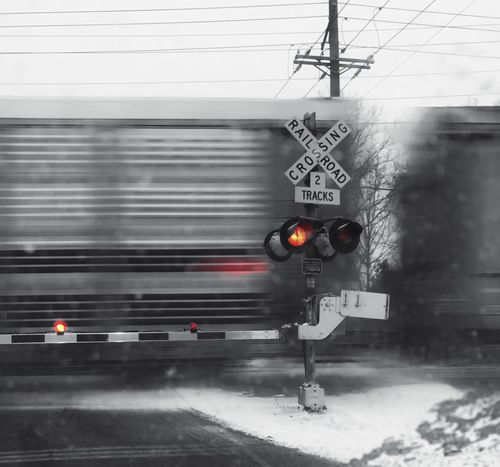 Transportation Railway Signal Rail Transportation No People Train - Vehicle Red Lights Grey Obstacles Railroad Lights Copy Space Winter Feeling Train In Motion Railroad Crossing Railroad Track Railroad Crossing Sign Train Moving Train Road Block Crossing The Tracks Color Splash Stopped By A Train stopped by a train at railroad crossing Cargo Train Grey Color Black & White Red Color