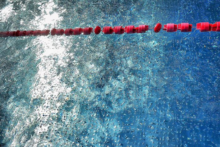 Pool Days Water Day High Angle View Outdoors Red No People Nature Waterfront Swimming Lane Marker Swimming Pool