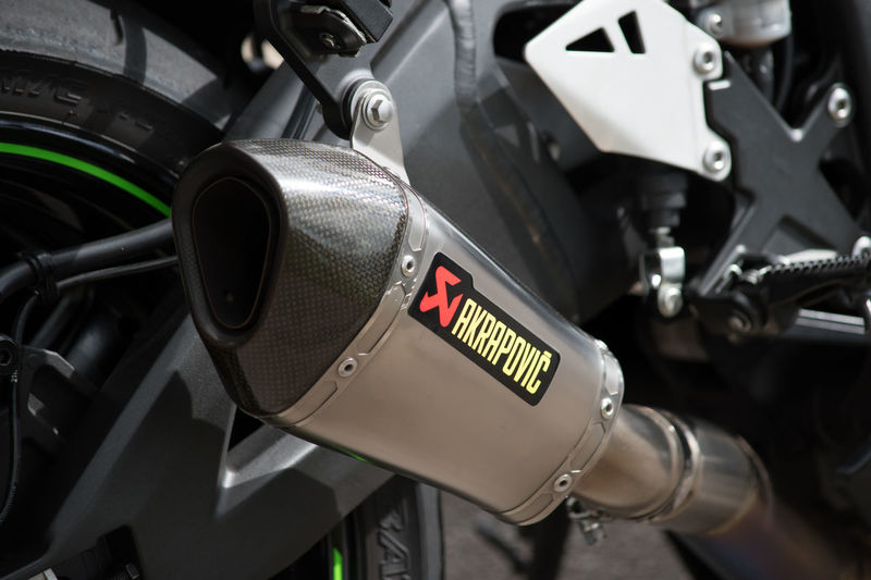 Akrapovic Close-up Day Detail Equipment Focus On Foreground Full Frame Kawasaki Land Vehicle Machine Part Machinery Metallic Mode Of Transport No People Outdoors Part Of Selective Focus Stationary Vehicle Part Zx10r