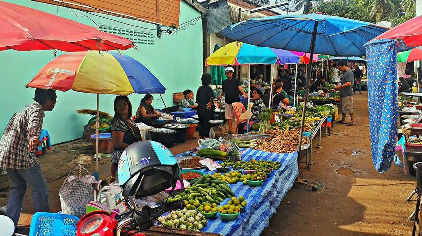 Pak Nam Lang Suan Village Chumphon Daily Market Day Market Marketplace Multi Colored Outdoors Pak Nam Lang Suan Thailand Village Life