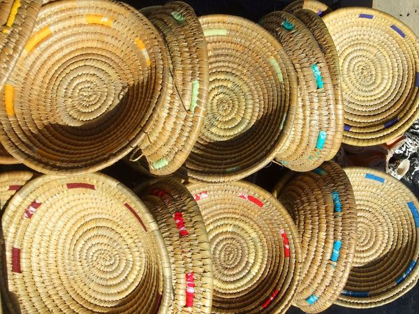 Backgrounds Close-up Concentric Day Full Frame Indoors  Large Group Of Objects No People Pattern Stack Straw Basket Strawwoven Woven Woven Baskets Woven Pattern
