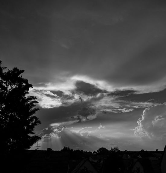 Dramatic Sky Architecture Beauty In Nature Black And White Building Building Exterior Built Structure Cloud - Sky Dusk Environment Hell Und Dunkel Low Angle View Nature No People Ominous Outdoors Plant Scenics - Nature Silhouette Sky Tranquil Scene Tranquility Tree
