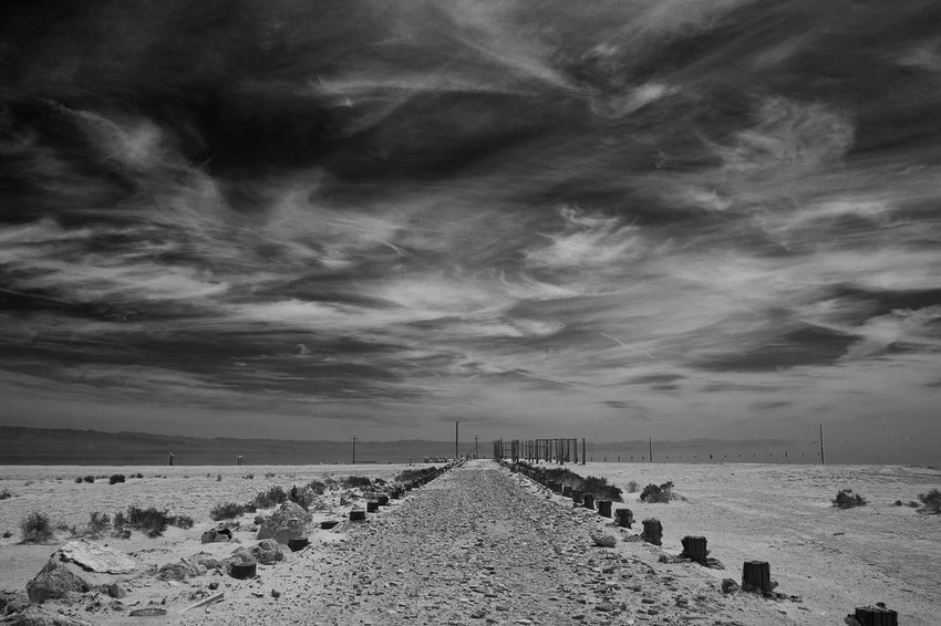 Beauty In Nature Black And White Cloud - Sky Landscape Nature No People Outdoors Perspective Salton Sea Scenics Sky Sky And Clouds The Way Forward Tranquil Scene Tranquility Water