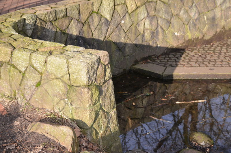 Source Of Water Alsterquelle Alster Source Stonewall Stone Material Outdoors Day