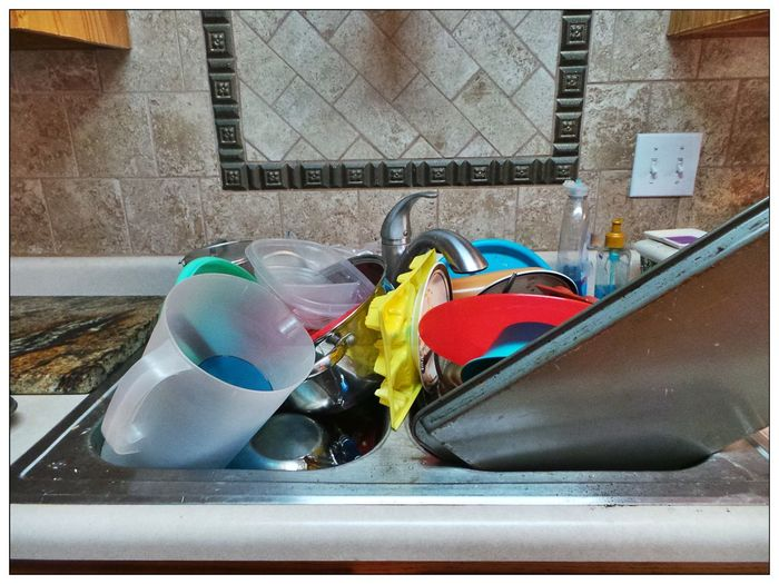 Bordered Image Kitchen Sink Full Sink Dirty Dishes Faucet Wall Detailed Overflowing Sink Home Chores Neglect