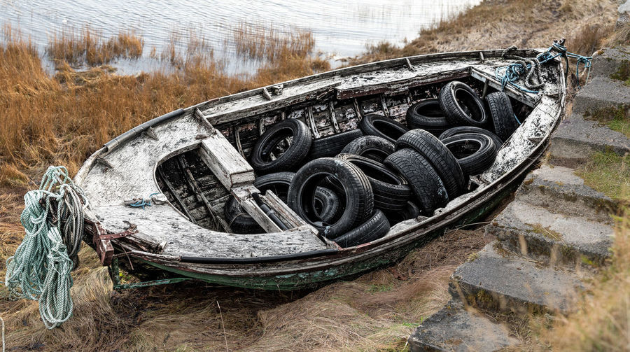 Photo Merge Photography Boat, Old Boat Onshore, Stone Steps Day Grassland Mooring Rope No People Old Car Tyres Ropes Boats Sea Abandoned Transportation Nautical Vessel Outdoors Tire Nature Close-up