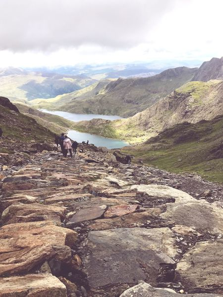 The Path Down People Outdoors Real People Nature Mountain Cloud - Sky Snowdonia Tranquility Landscape Mountain Range Pyg Track