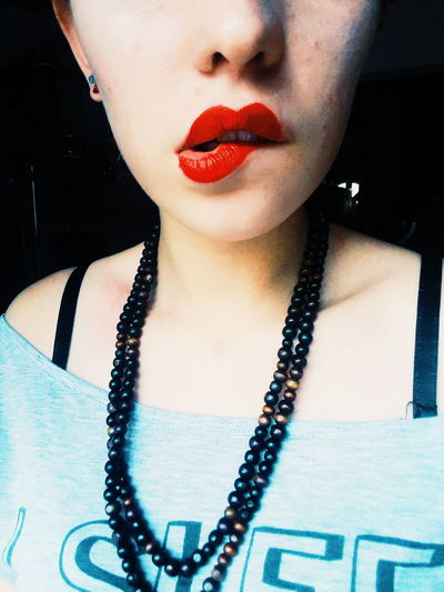 Human Lips Human Face Red Lipstick Females Beauty Lipstick Beautiful Woman Close-up Human Neck Locket Backache Bling Bling Rap Eye Make-up
