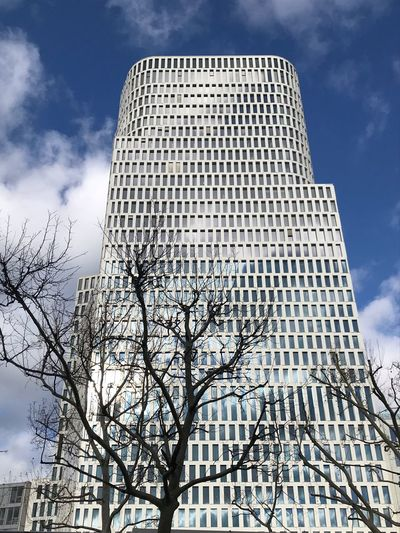 Low Angle View Sky Architecture Building Exterior Built Structure Cloud - Sky Tall - High Office Building Exterior Tree Nature No People Day Building City Skyscraper Modern