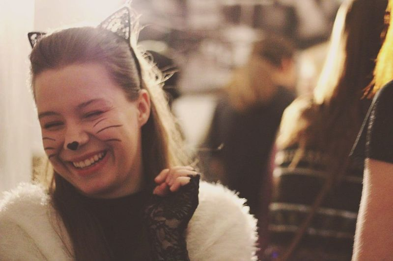 Smiling Headshot One Person People Happiness Portrait Only Women CheerfulSmile Lifestyle Halloween Beautiful Woman Beautiful PeopleOne Woman Only Samhain Close-up Human Young Women Brown Hair Young One Young Woman Only Black Cat Cat Beauty Women Second Acts