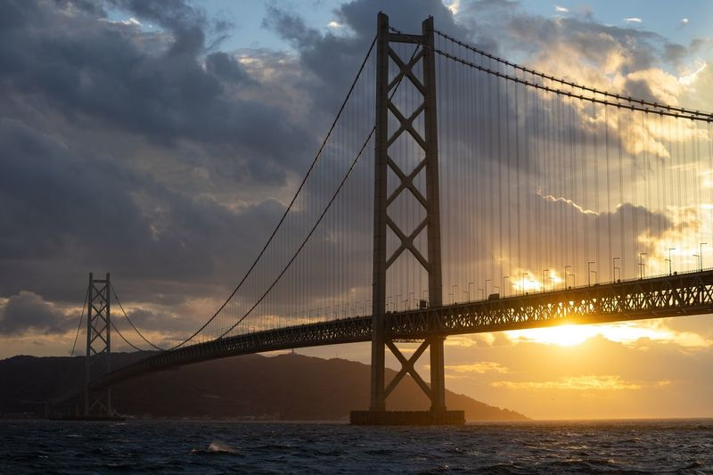 Sunset in the Akashi Kaikyo Bridge Water Sky Transportation Cloud - Sky Connection Bridge Bridge - Man Made Structure Suspension Bridge Built Structure No People Sea Travel Destinations Bay Beauty In Nature Outdoors Travel Architecture Nature Sunset