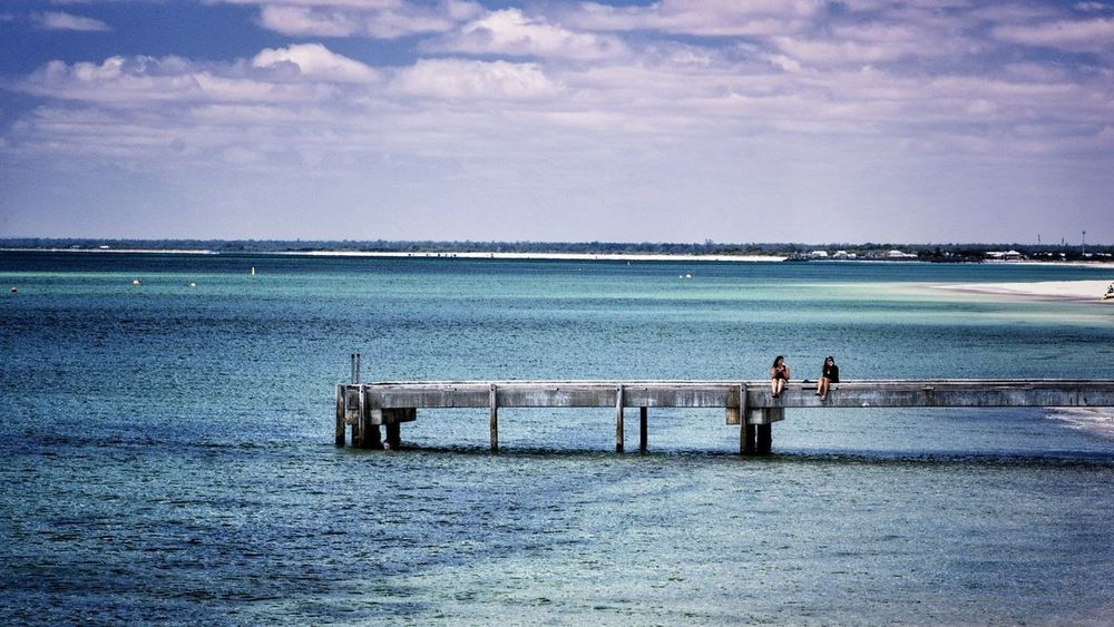 Finding a quiet place to catch up. Water Sea Outdoors Togetherness Two People Horizon Over Water Beauty In Nature Busselton Busselton Jetty Western Australia Jetty Jetty Structure People Remote Location Remote Place Together Friends Friendship Friendship ❤ Long Goodbye The Great Outdoors - 2017 EyeEm Awards Live For The Story Connected By Travel