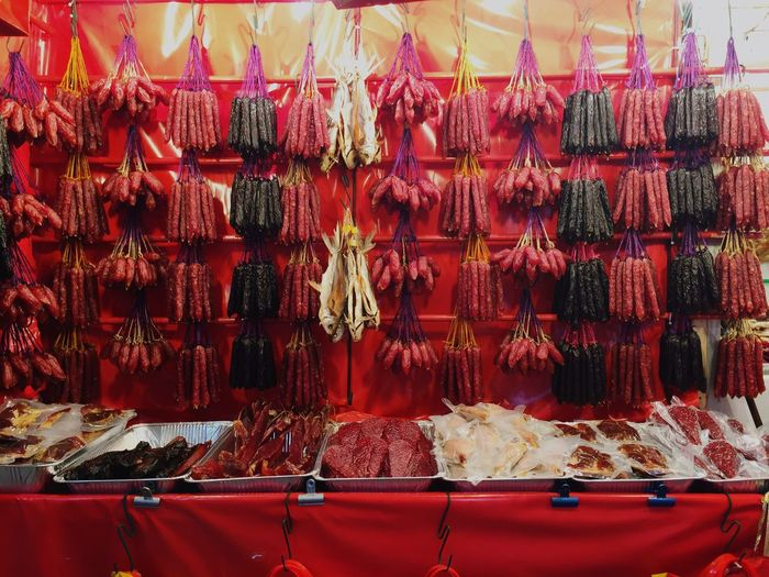 Pork and sausages for sale