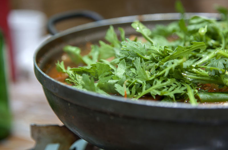 Bowl Close-up Day Delicious Fish Stew Focus On Foreground Freshness Green Green Color Growth Healthy Hot Leaf Maeuntang Mugwort Nature No People Noryangjin Plant Selective Focus Still Life Tasty