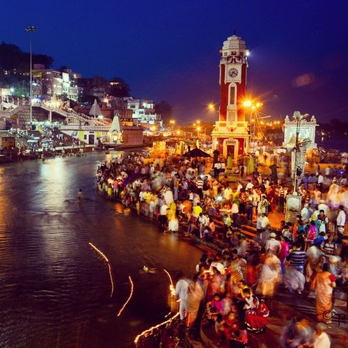 At the bank of river Ganga after Ganga Aarti Ganga River Worship Culture India Indian Haridwar Fun Love Velancia