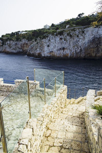 Beauty In Nature Beauty In Nature Castromarina Clear Sky Cliff Day Horizon Over Water Italy Lecce Nature No People Outdoors Puglia Railing Rock - Object Rock Formation Salento Scenics Sea Sky Steps Tranquil Scene Tranquility Travel Destinations Water
