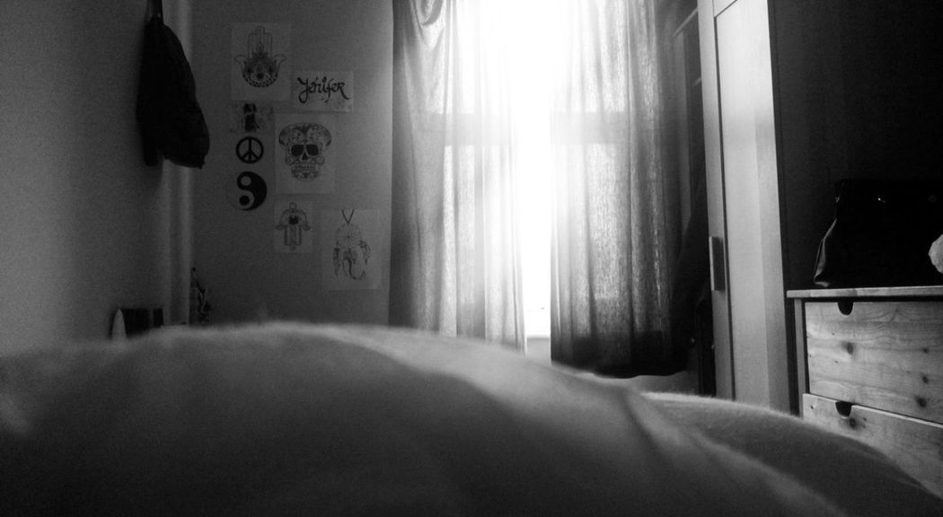 Goodmorning Bed Bedroom Felling Sleepy Tho Time To  Get Up Blackandwhite ?