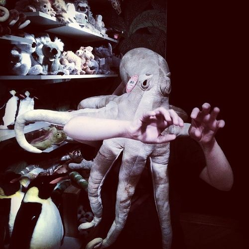 Cthulu in rare candid shop at local toy store Cthulu Lovecraft Funny Puppet squid costume toy tentacles silly surreal staged store