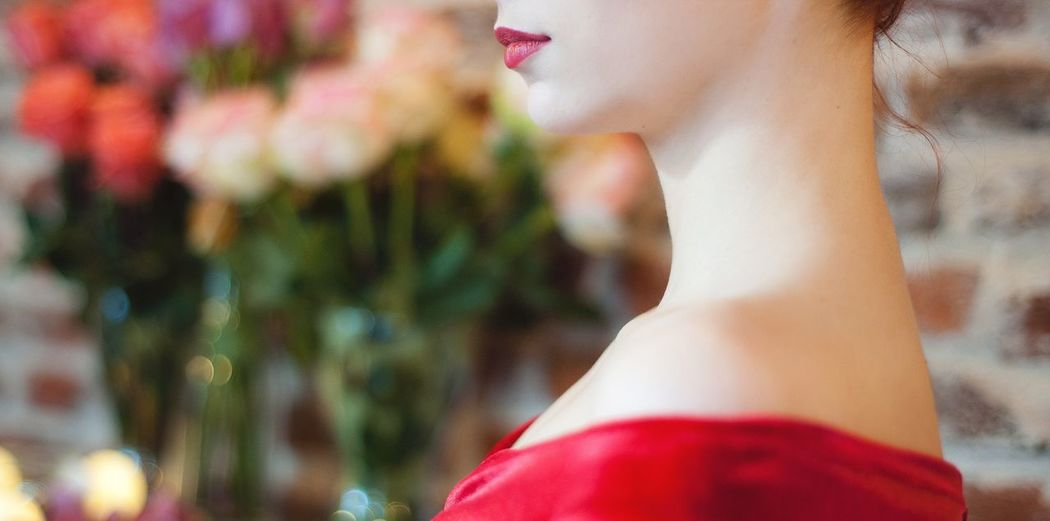 Red. Red Side View Beautiful Woman Human Body Close-up Portrait Photography Mood The Portraitist - 2017 EyeEm Awards Lipstick Love Vinatge Women People Young Girl Personal Modern Princess Portrait Skin Dress Nightout Her Alone Indoors  Feelings