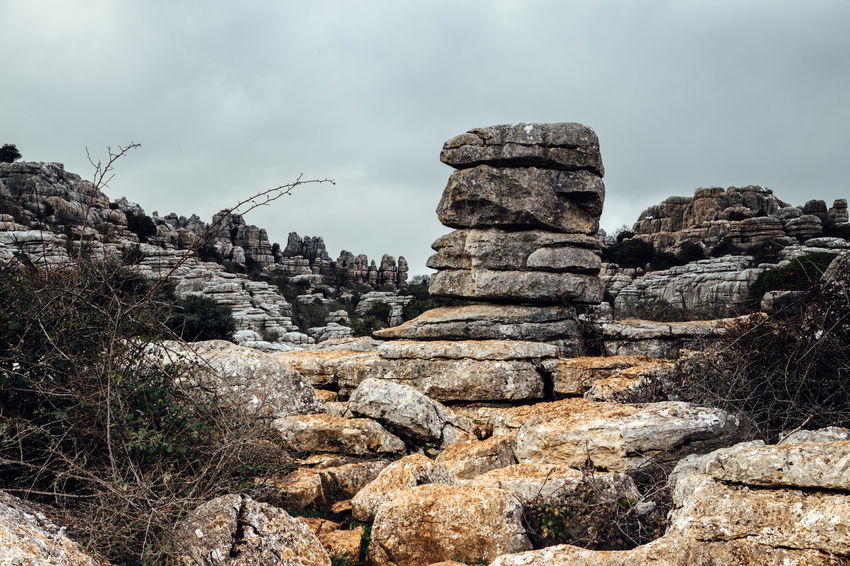 Ancient Built Structure Cloud Landscape Mountain Nature Nature Sculpture No People Outdoors Rock Rock Formation Sierra Del Torcal Sky Stone Stone Wall The Great Outdoors - 2016 EyeEm Awards Torcal De Antequera Tranquility Travel Destinations