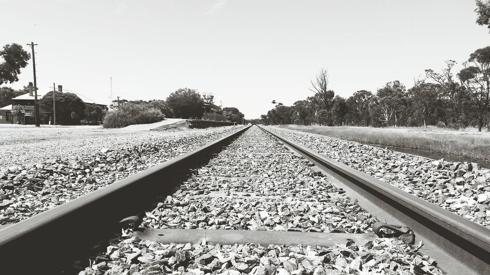 Train Tracks Railroad Black And White Australia