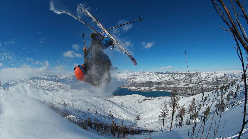 Backcountry backflip above Lake Chelan. Washington PNW Washington State Ski Skiing Snowskiing Snow Mountains Backcountry Skier Extreme Sports Blue Sky Outdoor Pursuit Winter Adventure Adventure Club Exploring RISK Backflip Stunt Freeride Adult Skill  Adventure Sky Outdoors Sportsman Young Adult Shades Of Winter Go Higher