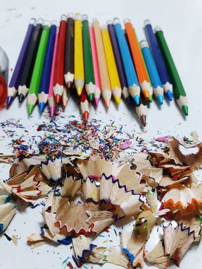 Colorful Schoolsupply Drawing Painting Edication Pencil Shavings White Background Pencil Sharpener Pencil Colored Pencil Close-up
