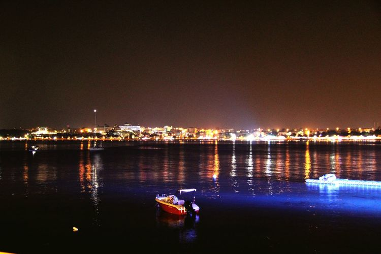 Transportation Nautical Vessel Boat Illuminated Mode Of Transport Water Waterfront Night Reflection River Tranquility Calm Tranquil Scene No People Sea Ocean Scenics Journey