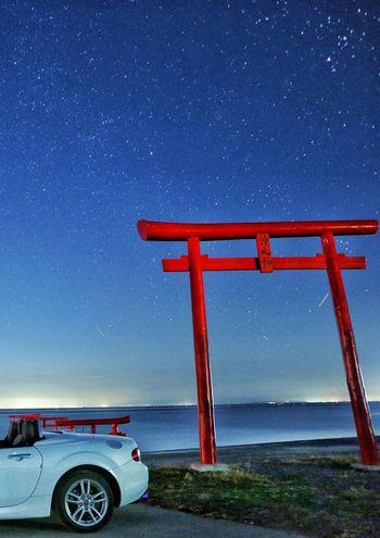 海中鳥居 鳥居 神社 星空 海 空 車 マツダ ロードスター TORII Shrine Sky Sea Star - Space Star Field Star Nature Japan Photography EyeEm Galaxy Astronomy Astrology Sign Milky Way Star - Space Water Space Sea Constellation Red Star Trail