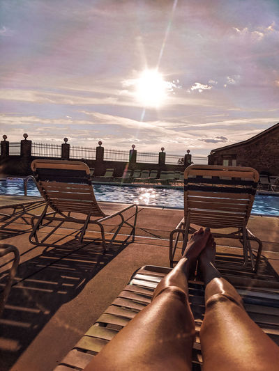 poolside Golden Golden Hour Evening Sky Pool Poolside Tan Relaxing Relax Relaxation Swimming Low Section Water Sea Nautical Vessel City Beach Sky Cloud - Sky The Great Outdoors - 2019 EyeEm Awards