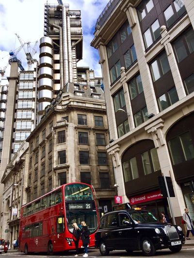 Loydsbank Building Exterior Architecture Car Land Vehicle Transportation Mode Of Transport Built Structure Cloud - Sky Accidents And Disasters Sky Fire Engine Double-decker Bus Outdoors Day Low Angle View City No People London Modern Architecture