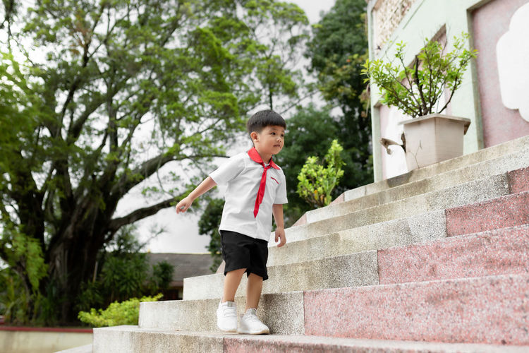 Cute little child having fun. school concept. back to school