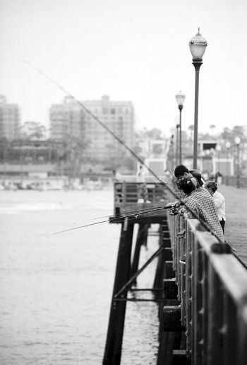 Fish Fishing Day City Pier Water Ocean Oceanside Woodpier Black And White Outside Outdoors EyeEmNewHere Black And White Photography