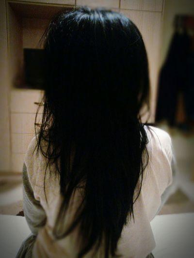 Let Your Hair Down Brunette Bedtime Relaxing Ready To Sleep Black Hair Woman Backhead Bedroom Pijamas