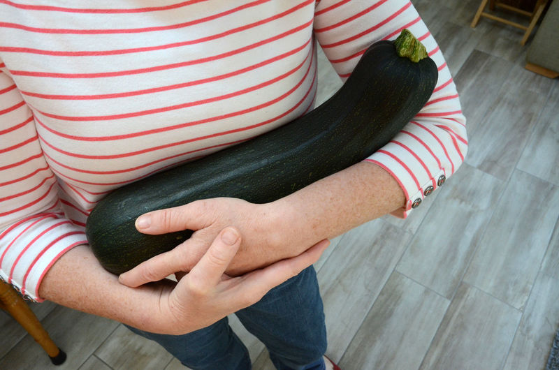 Midsection Of Woman Holding Eggplant While Standing At Home