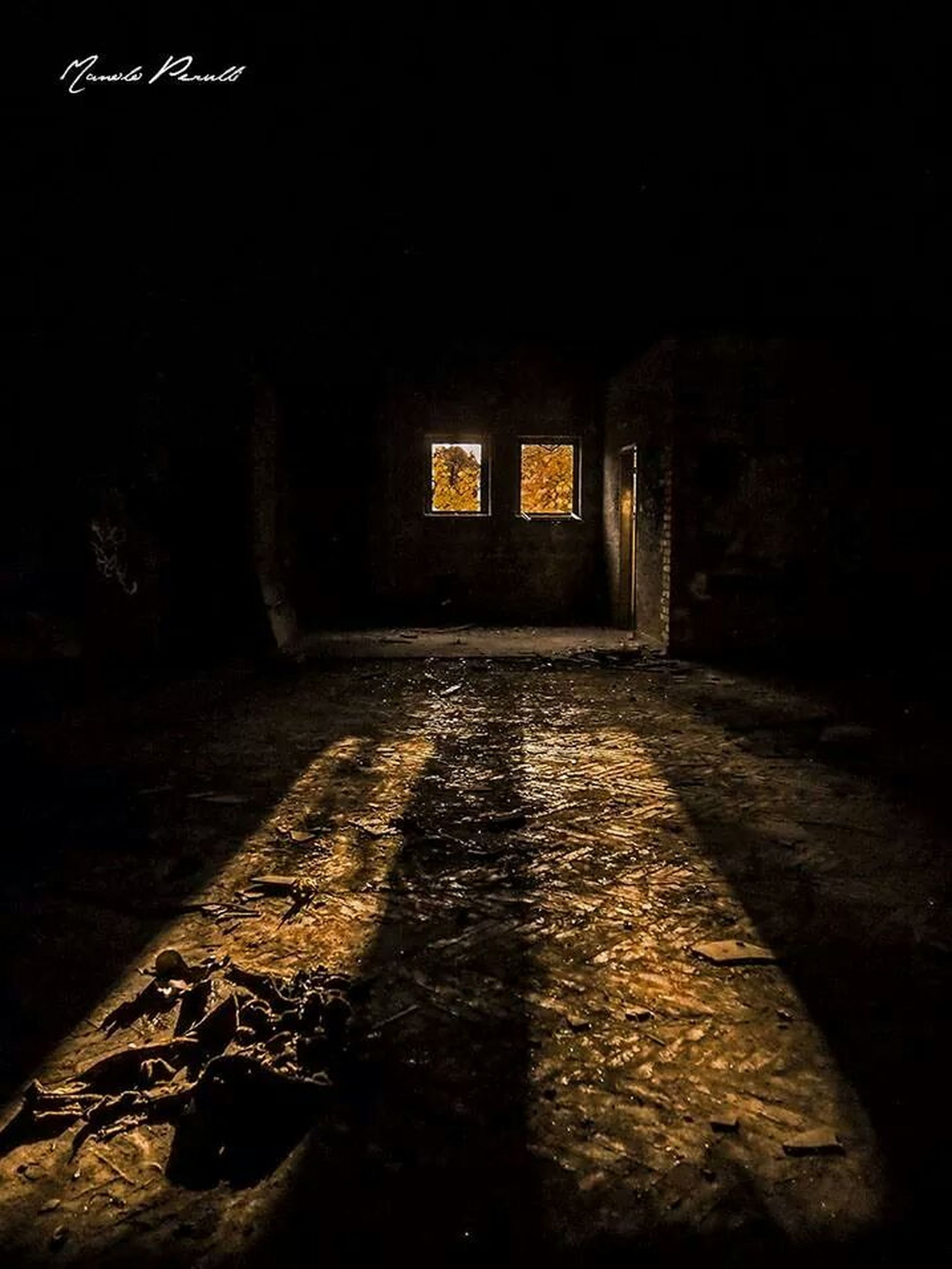 architecture, built structure, building exterior, night, abandoned, the way forward, wall - building feature, dark, old, building, house, illuminated, obsolete, brick wall, street, no people, window, damaged, shadow, outdoors