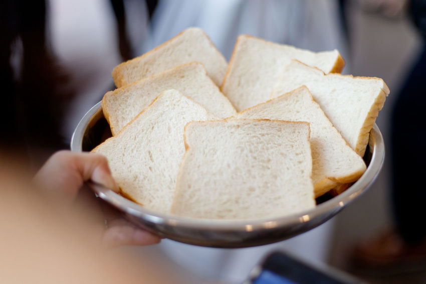 A plate of bread Tray Body Part Bread Breakfast Close-up Finger Focus On Foreground Food Freshness Hand Holding Human Body Part Human Hand Indoors  Lifestyles One Person Plate Preparing Food Ready-to-eat Real People Selective Focus Snack Unrecognizable Person
