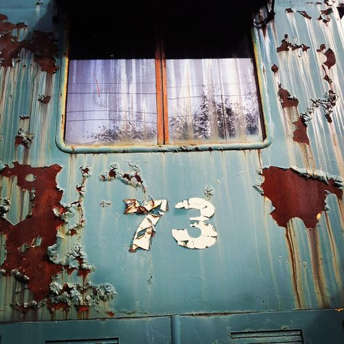 Train car 73 Rust Rustic Rusted Old Taking Photos Taking Pictures Editorial  ChippedPaint Chipped Paint 73 Seventy Three Colorful Color Backgrounds Background Rustygoodness Number Numbers Looking Up Window Lines And Patterns Lines, Shapes And Curves EyeEm Best Shots Train Train - Vehicle