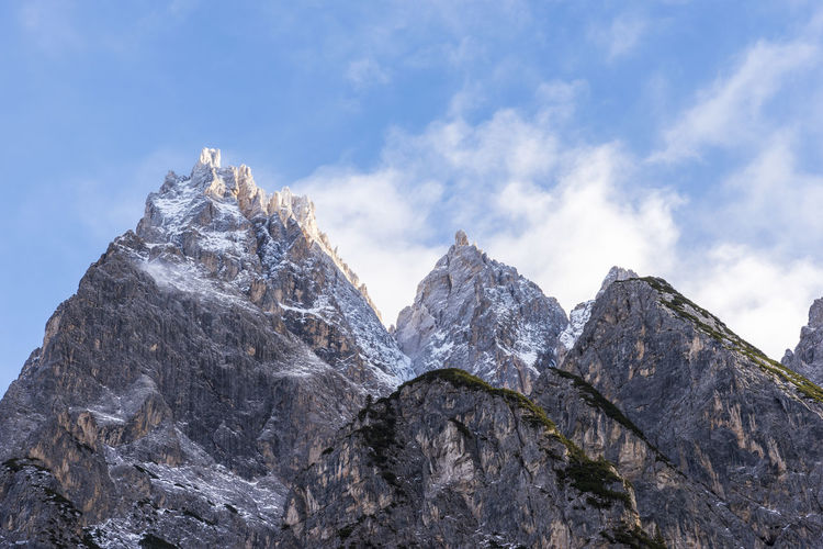 Dolomites. Winter between ice and snow. Tre Scarperi Refuge. On the way to the Tre Cime di Lavaredo Nature No People Mountain Mountain Range Italy Snow Dolomites, Italy Snowshoe Alps Italy Landscape Mountains Mountains And Sky Rock Formation Clouds Clouds And Sky Lavaredo Nature Outside UNESCO World Heritage Site Climbing Climbing A Mountain Refuge Winter Peak Panorama Nature