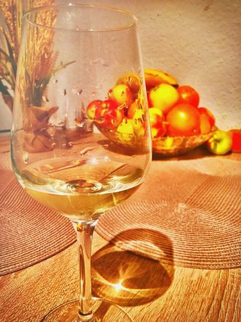 Wine Food And Drink Alcohol Table Wineglass Drinking Glass No People Close-up Indoors  Freshness Ready-to-eat Day Wine Tasting Whitewine Evening Apple Banana Germany Hagen Holiday Glass Orange Wall Tabletop Red Wine Not