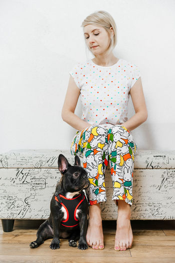 Bonding Multi Colored Colors Colorful Colours Pajamas Homewear Frenchie French Bulldog Dog Pets Canine One Animal Animal One Person One Woman Only Women Full Length Togetherness Girls Standing Family Bonds