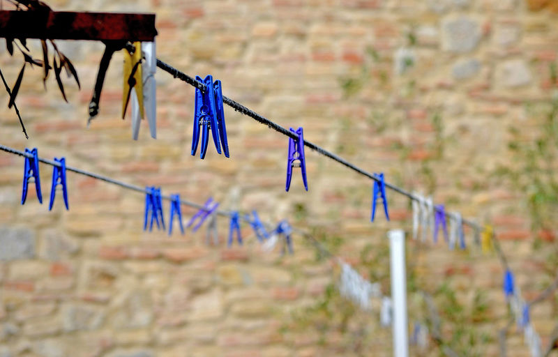 clothespins hanging from two clothesline and an old brick wall Hanging Blue Multi Colored Focus On Foreground Clothespin Clothesline Outdoors Selective Focus Group Of Objects Wire Clothing Rope In A Row No People Wall Brick Brick Wall