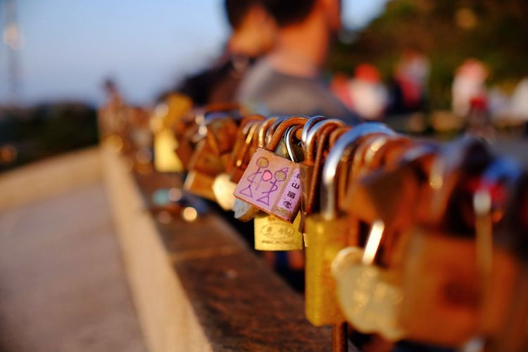 Lock in your love and throw away the key Abundance Choice Collection Culture Day Focus On Foreground Hanging In A Row Large Group Of Objects Love Lovelocks Medium Group Of Objects Multi Colored No People Padlock Railing Selective Focus Variation