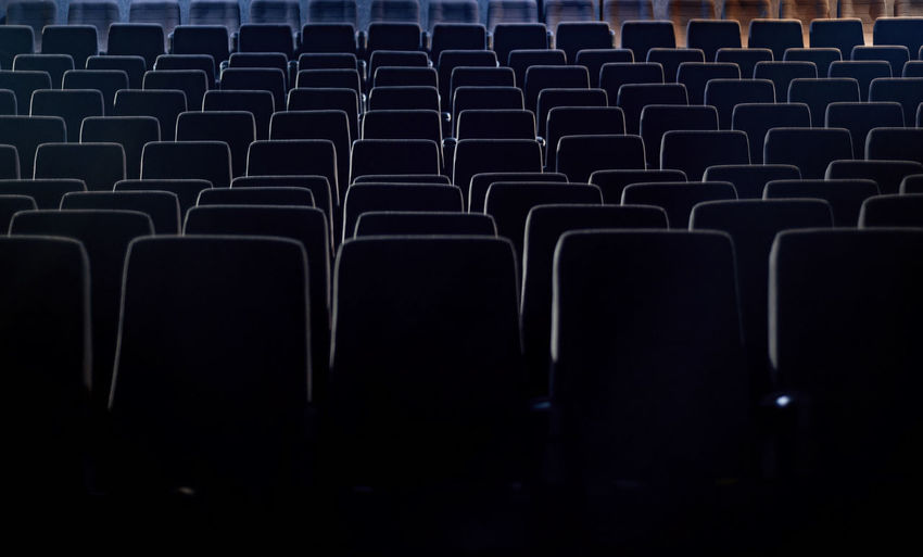 Full frame shot of empty chairs in movie theater
