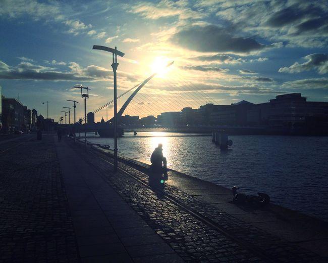 River Sunset Bridges Dublin Sittingonthedock Clouds Sky