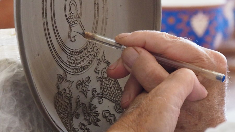Close-up Ceramics Factory Ceramics Plate Ceramic Artwork Hand Made Design Bonis Ceramics Rhodes Greece Human Hand Indoors  Skill  One Man Only Adults Only