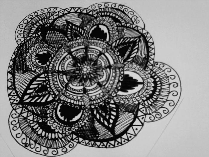 Drawing Mandala Bw Doodling ❤
